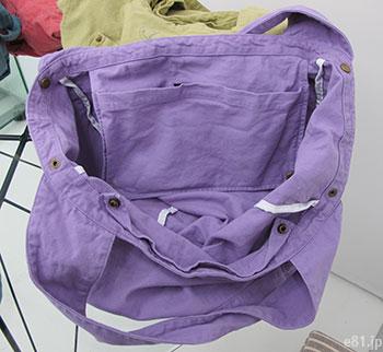 「古着屋さんで見つけたような 大きめくたくたトートバッグ」の中