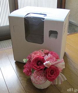 アレンジメント「ロゼシャイン」と、それを梱包していた箱