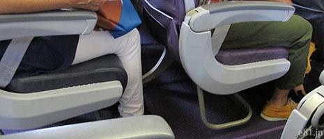 ピーチの飛行機における座席の前後間の間隔