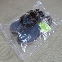 ジップ付きのナイロン袋に収められた靴。