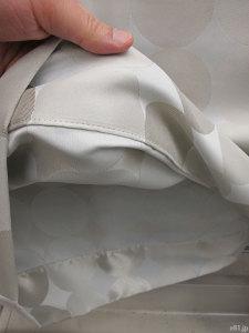 ベルメゾンネットで販売されています「サークル柄の遮光・遮熱・防炎カーテン・2枚」の裾部分