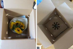 『父の日 ひまわり花束セット「浅草むぎとろ 茶そば」』のパッケージの下段