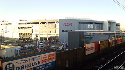 南海本線・七道駅のホームから見た「イオンモール堺鉄砲町」